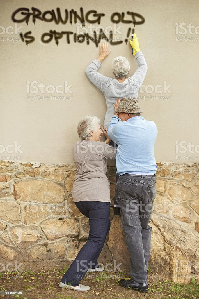 Who says the elderly can't be edgy? stock photo