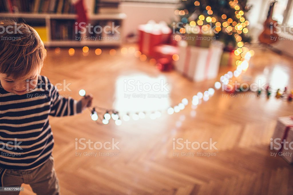 Who stole the Christmas lights? stock photo