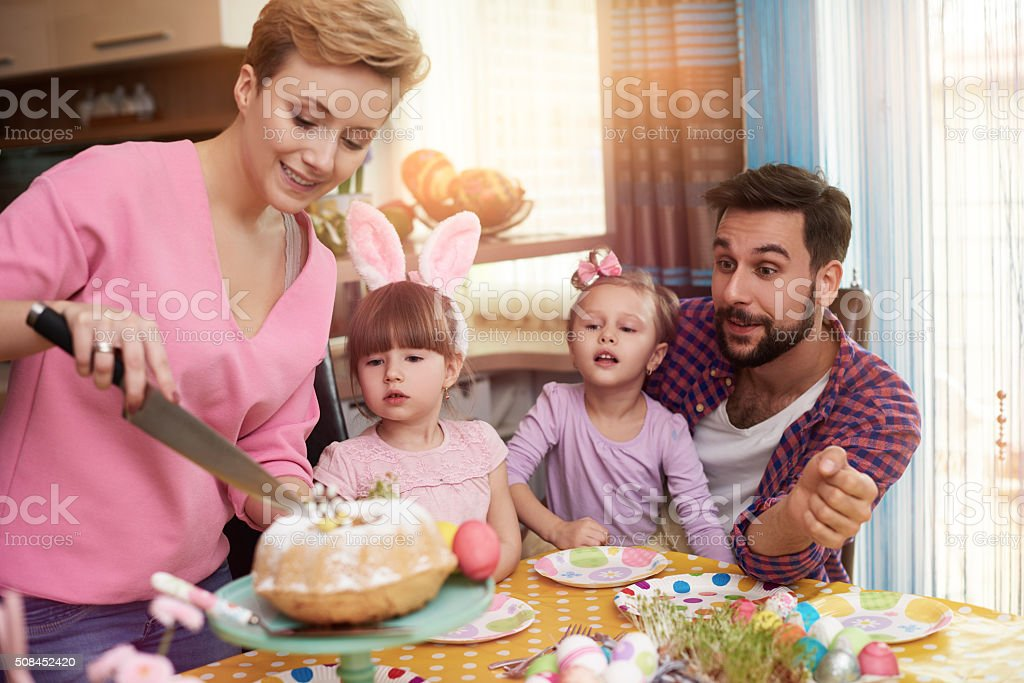 Who wanna get Easter cake? stock photo