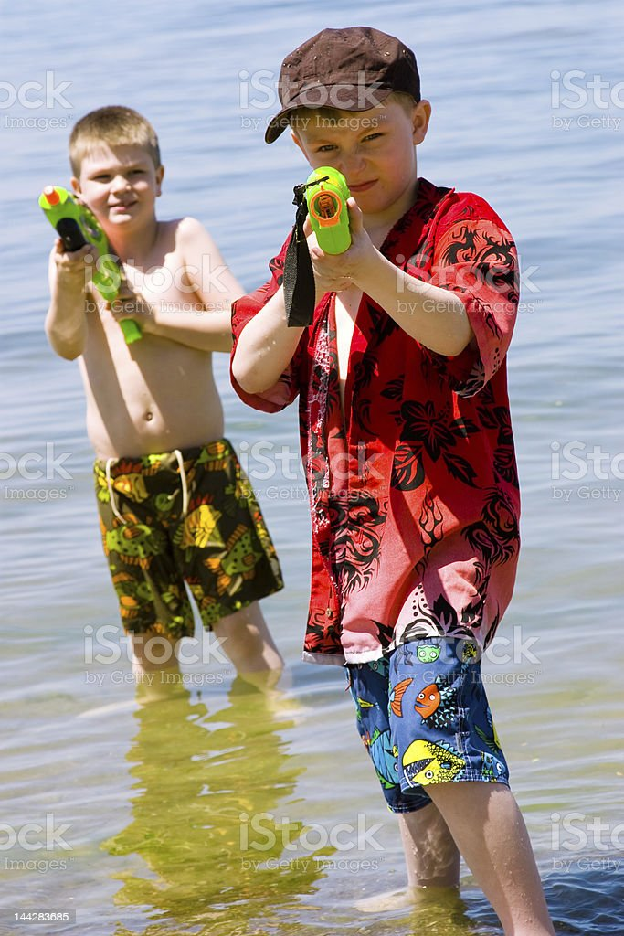 Who wants a water fight? royalty-free stock photo