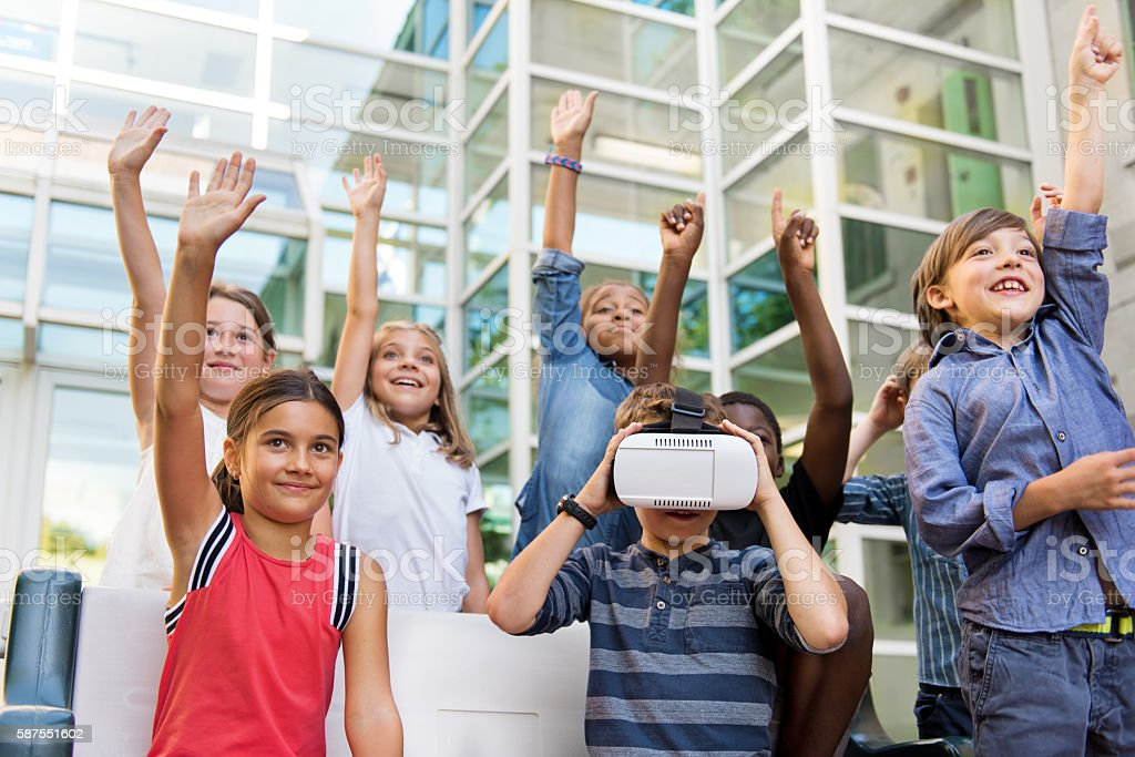 Who wants to try Virtual Reality Simulator stock photo
