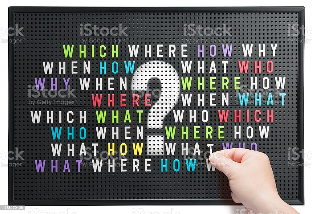 Who what where when which question mark on noticeboard stock photo