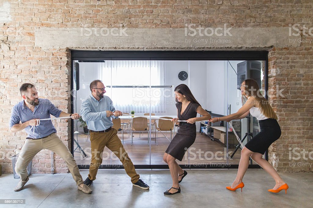 Who will win this competition stock photo