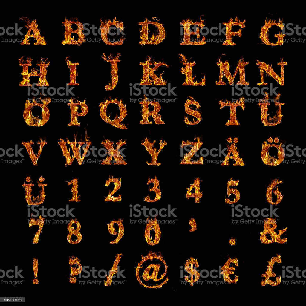 whole alphabet with numbers and punctuation marks in burning flames stock photo