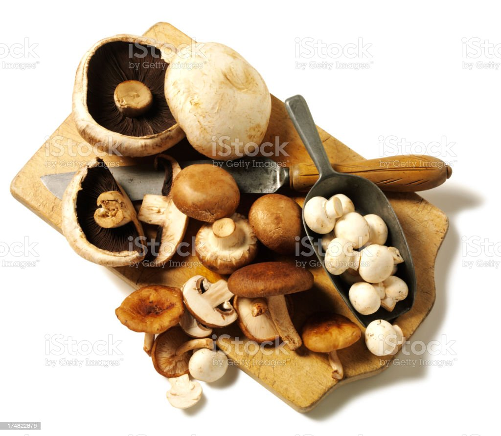 Whole and Chopped Edible Mushrooms royalty-free stock photo