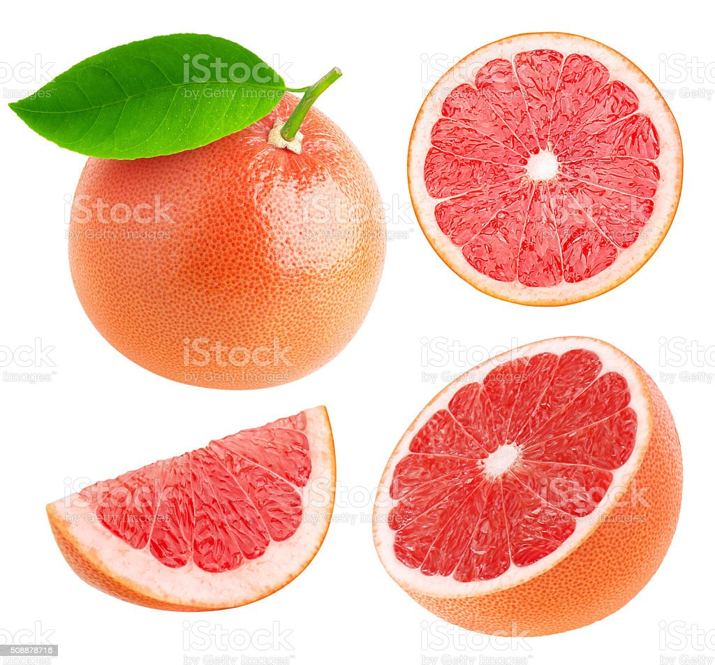 Whole and cut grapefruits collection isolated on white stock photo