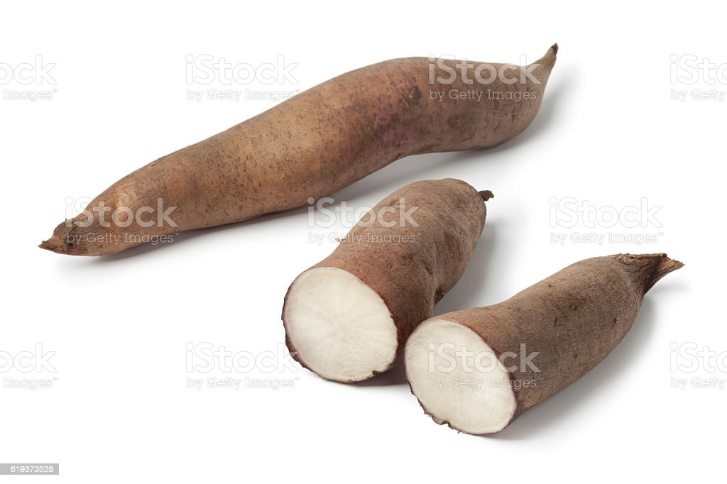 Whole and half Yacon roots stock photo