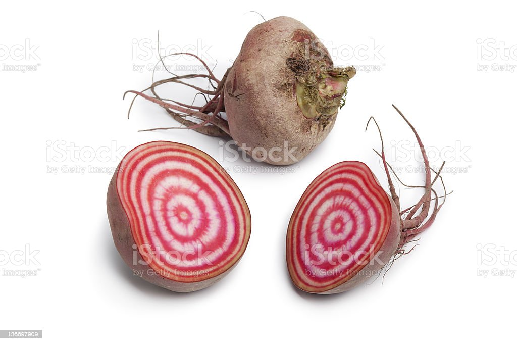Whole and partial chioggia beets royalty-free stock photo