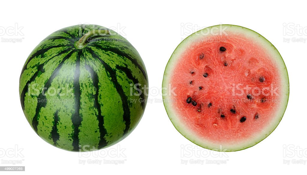 Whole and slice of watermelon stock photo