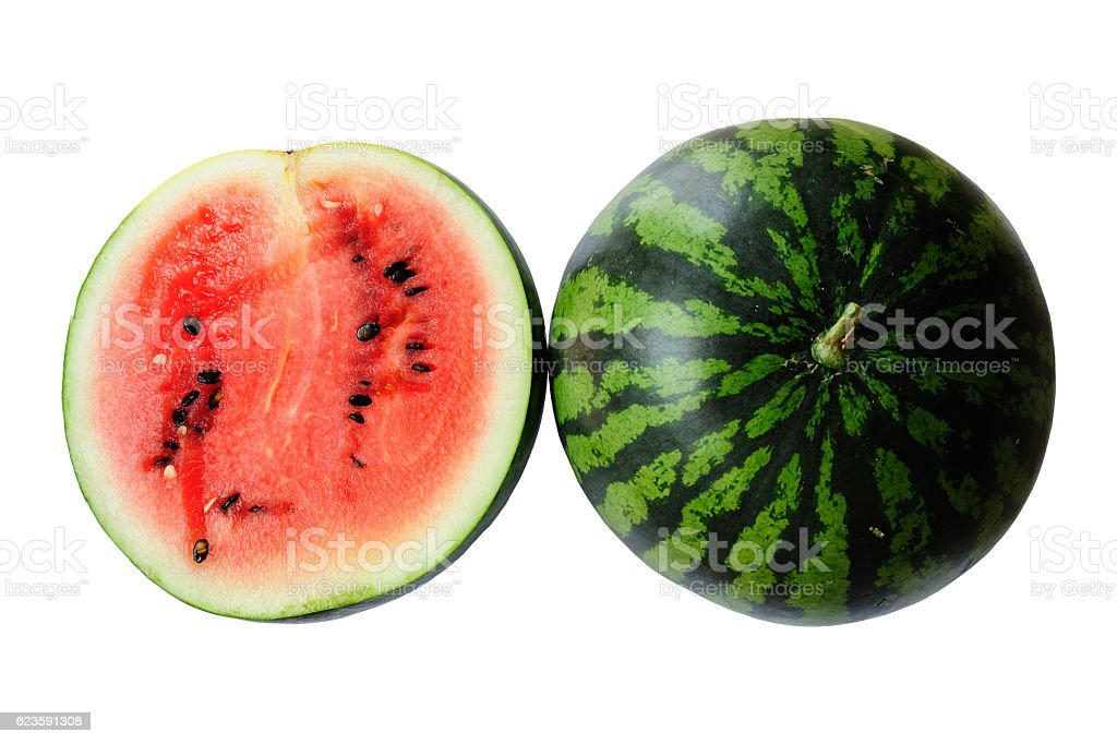 Whole and slice of watermelons stock photo