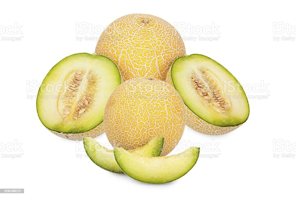 Whole and sliced Galia Melons royalty-free stock photo