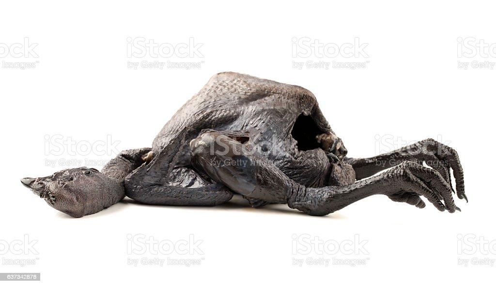Whole Black Chicken, Silkie stock photo