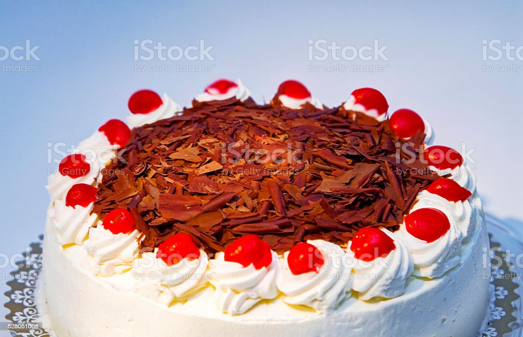 whole black forest cake for cropping stock photo