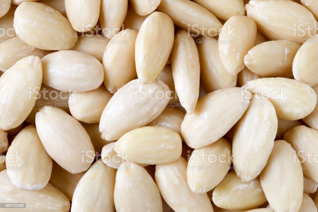 Whole Blanched Almonds Background royalty-free stock photo