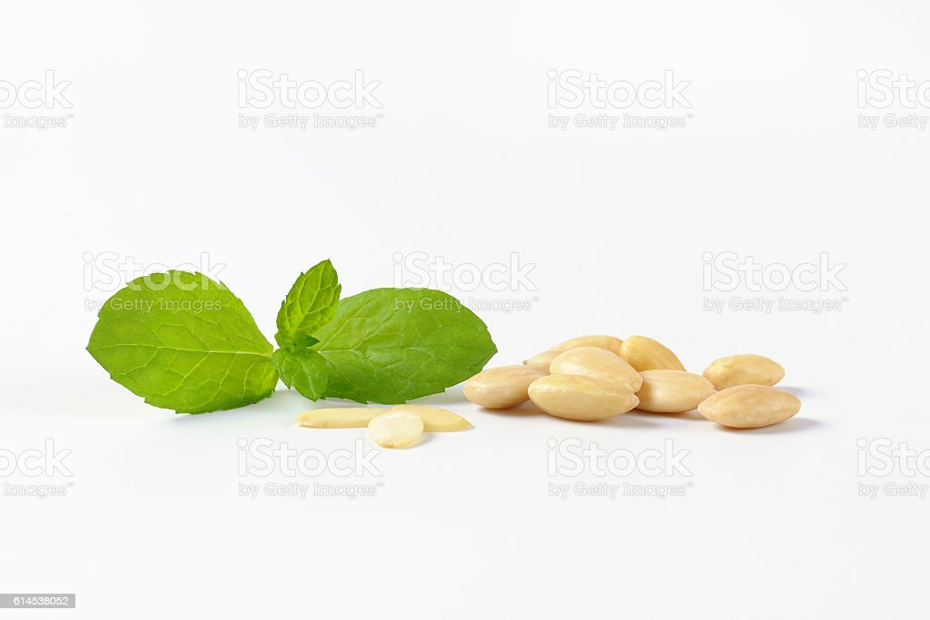 whole blanched almonds stock photo
