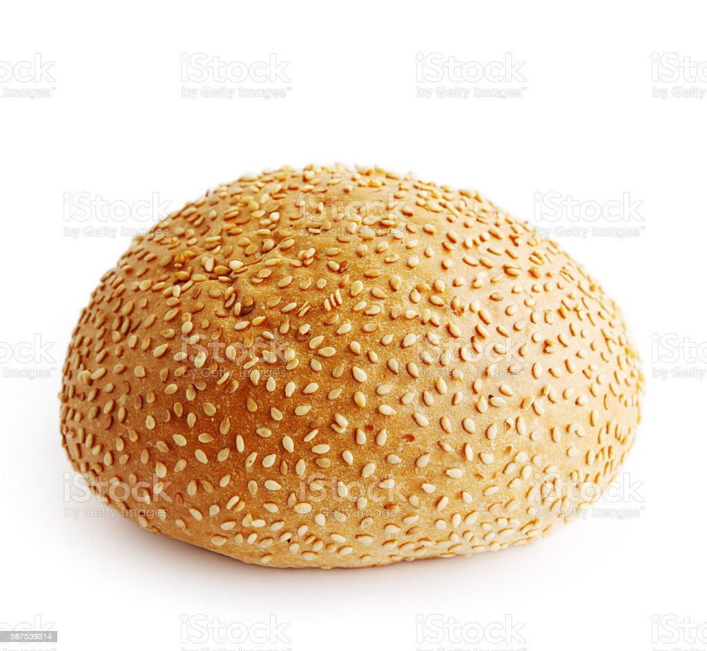 whole bun with sesame for hamburger stock photo