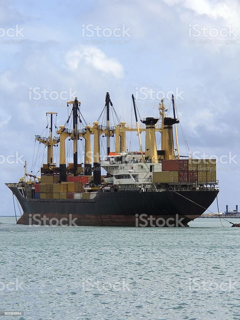 Whole cargo ship stock photo