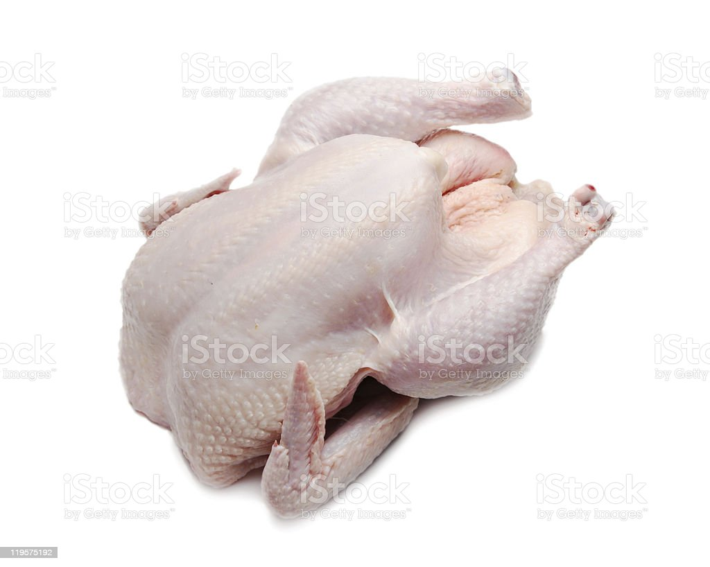 Whole chicken uncooked on white background royalty-free stock photo