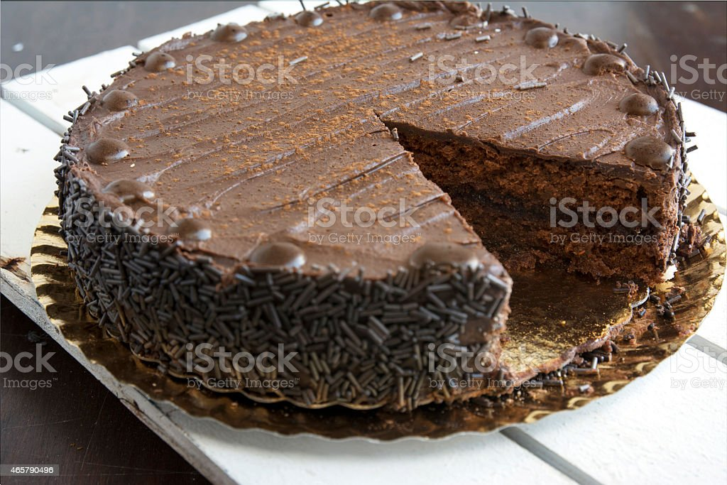 whole chocolate cake stock photo