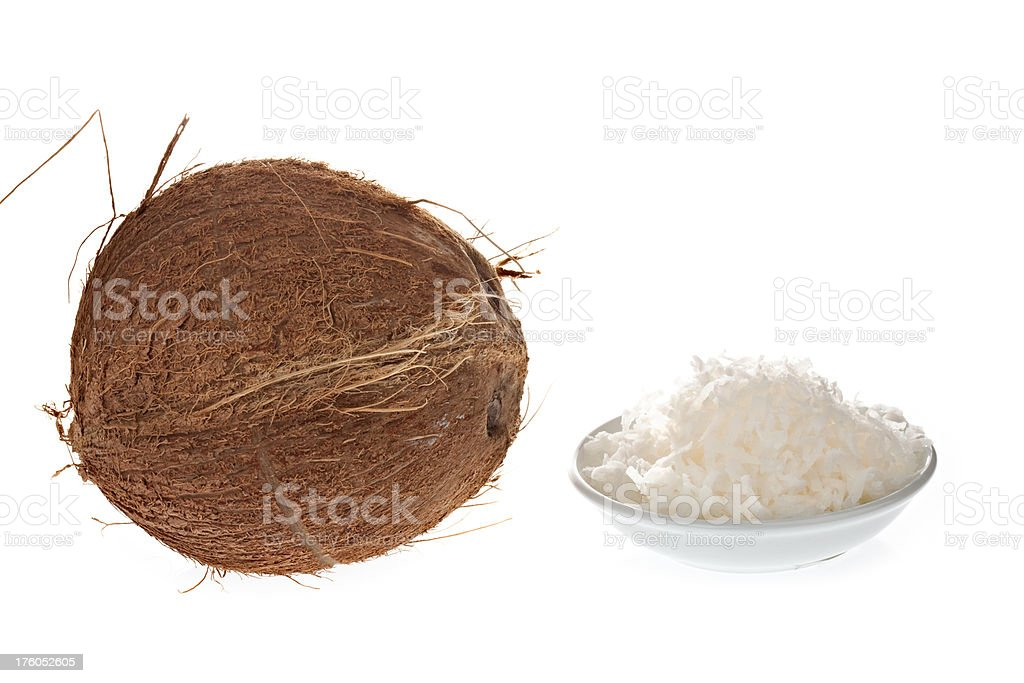 Whole Coconut and Shredded royalty-free stock photo