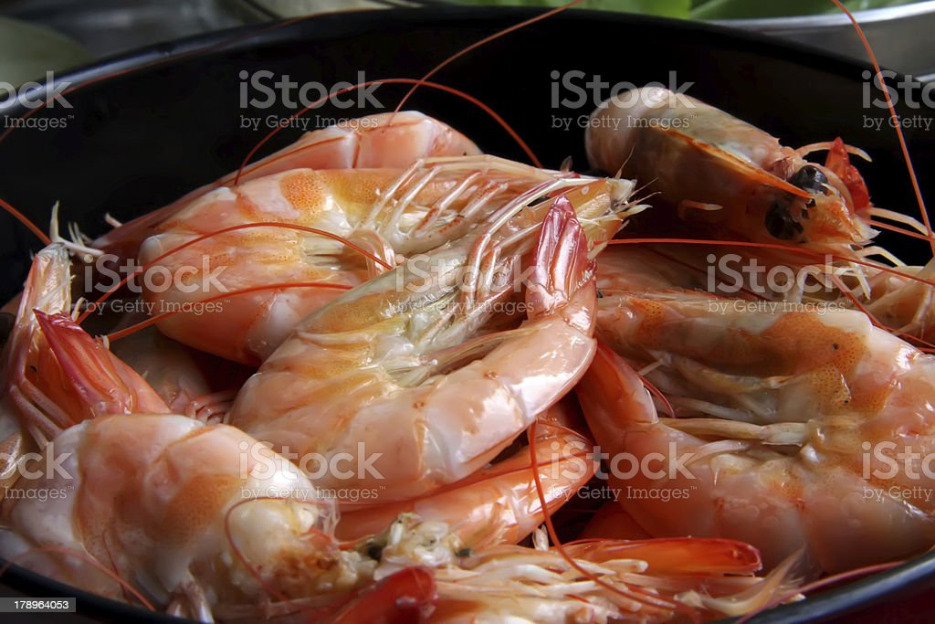 Whole cooked prawns royalty-free stock photo