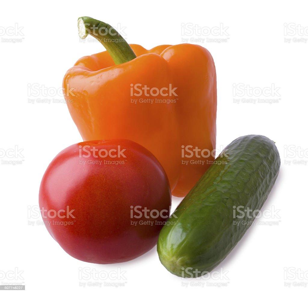 Conjunto, pepino, tomate e pimenta foto royalty-free