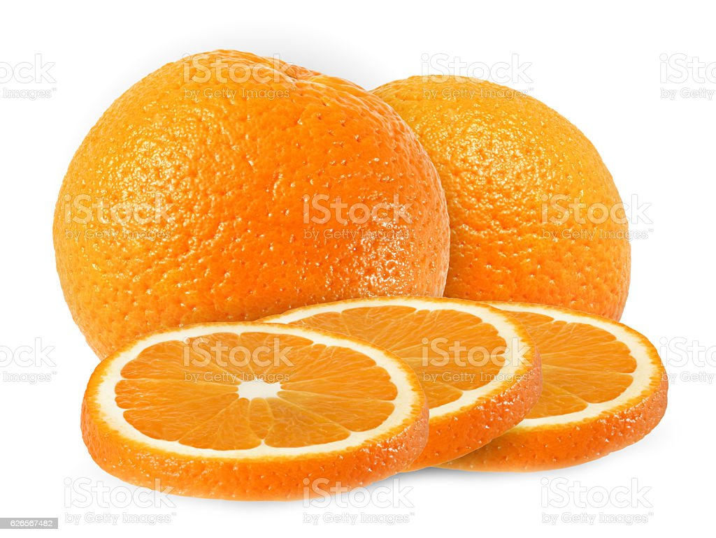 whole, cut orange fruits isolated on white with clipping path stock photo