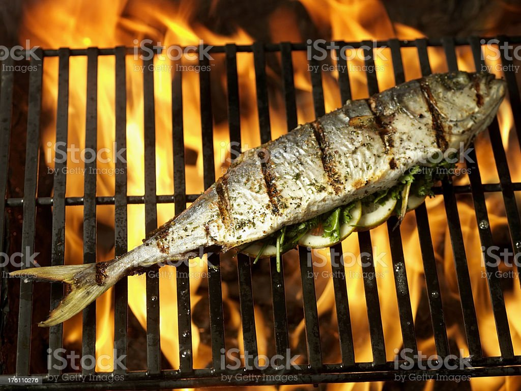 Whole Fish on BBQ royalty-free stock photo