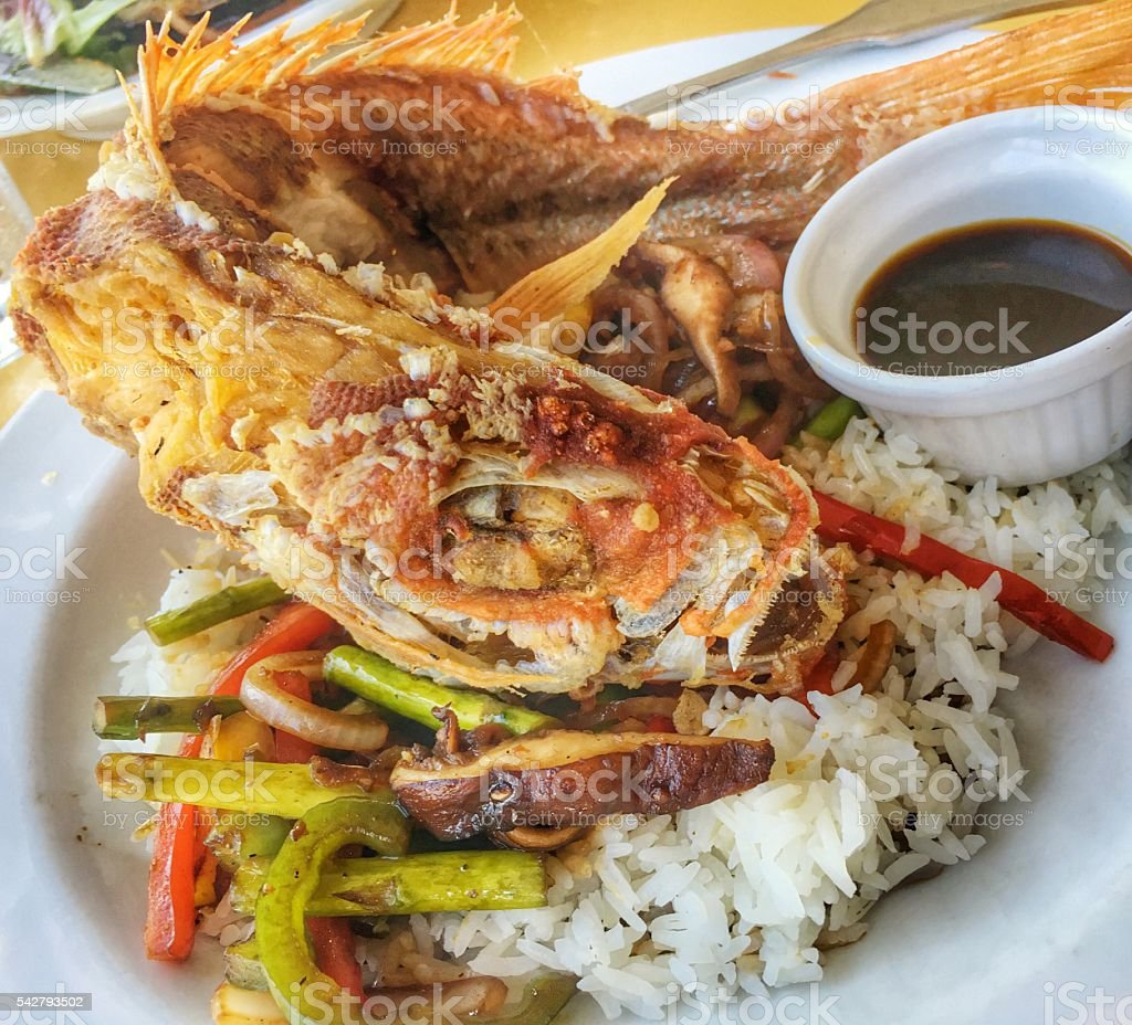 Whole flash fried red snapper stock photo