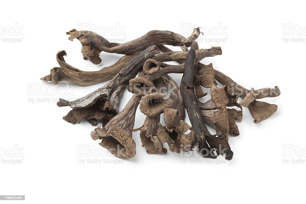 Whole fresh Black Trumpet mushrooms royalty-free stock photo