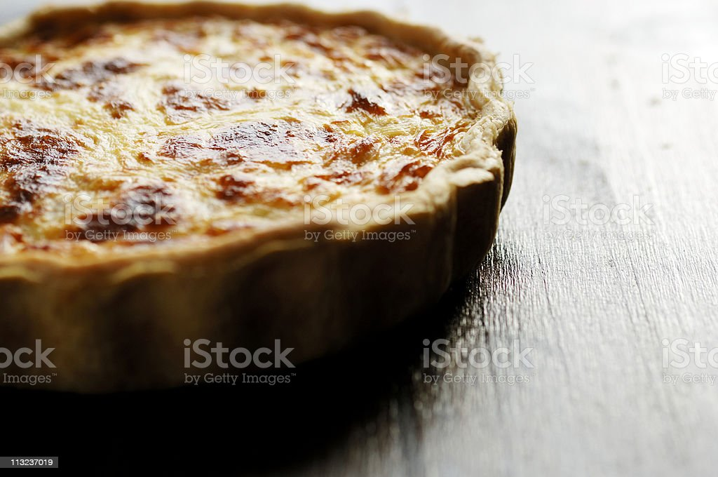 Whole freshly baked Quiche Lorraine stock photo
