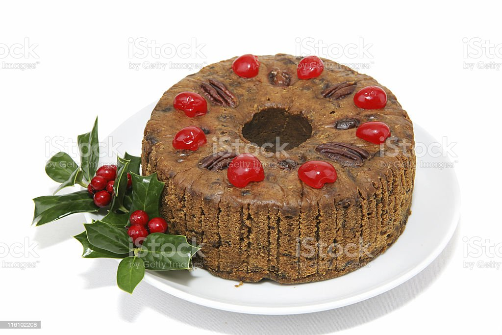 Whole Fruitcake Isolated stock photo