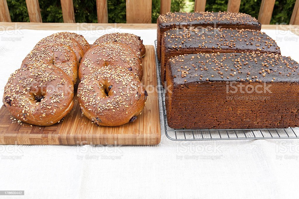 Whole grain bagels and rye bread royalty-free stock photo