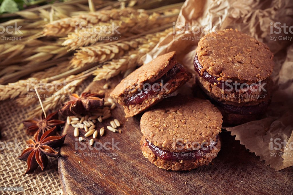 Whole Grain Biscuits Cookies stock photo