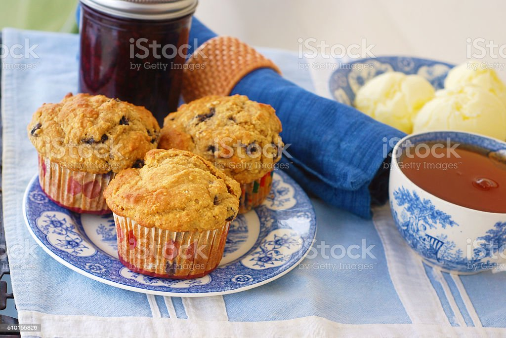 Whole Grain Blueberry Muffins stock photo
