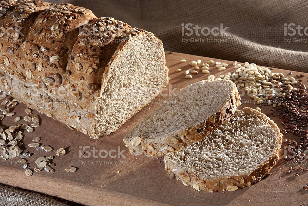 Whole Grain Bread on Sack Background stock photo