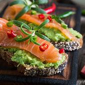 Whole grain bread with avocado paste and salmon