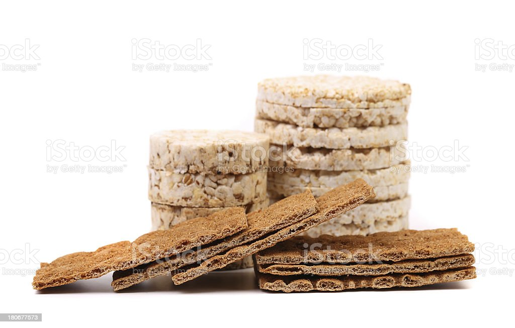 Whole grain crisp bread and puffed rice snack. royalty-free stock photo