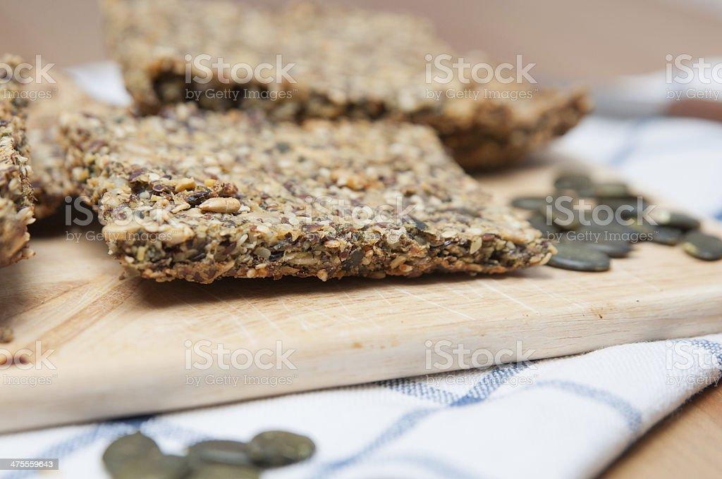 Whole Grain Crispbread with pumpkin seeds stock photo