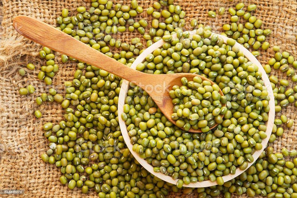 Whole grain mung bean top view, stock photo