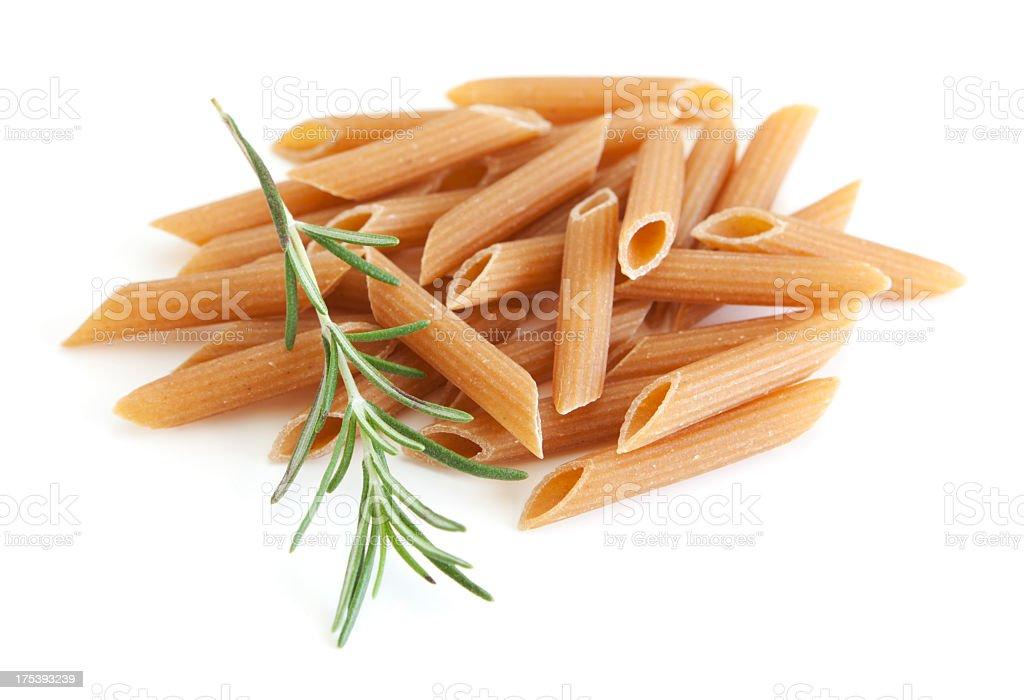 Whole grain penne pasta stock photo