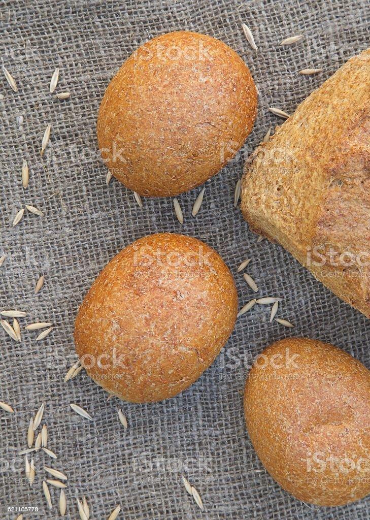 Whole grain rolls stock photo