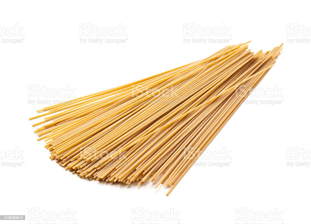 Whole grain spaghetti pasta stock photo