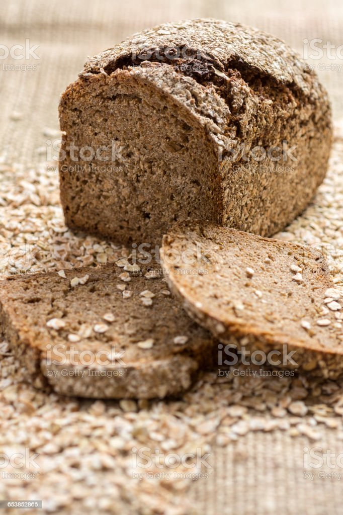 Whole Grain Unleavened Organic Bread with Rye, Oats and Flax Seeds. Healthy Chrono Diet. stock photo