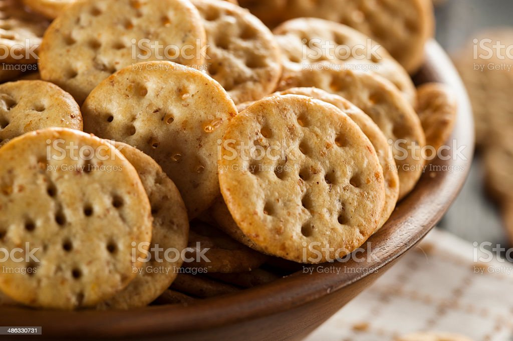 Whole Grain Wheat Round Crackers stock photo