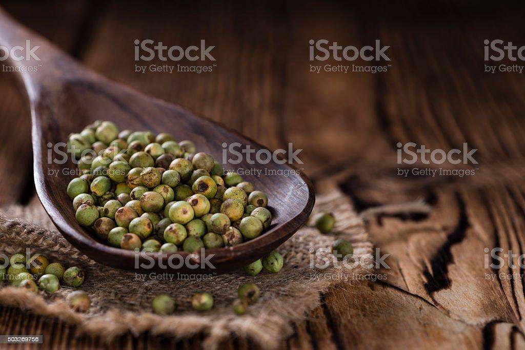 Whole green Peppercorns stock photo