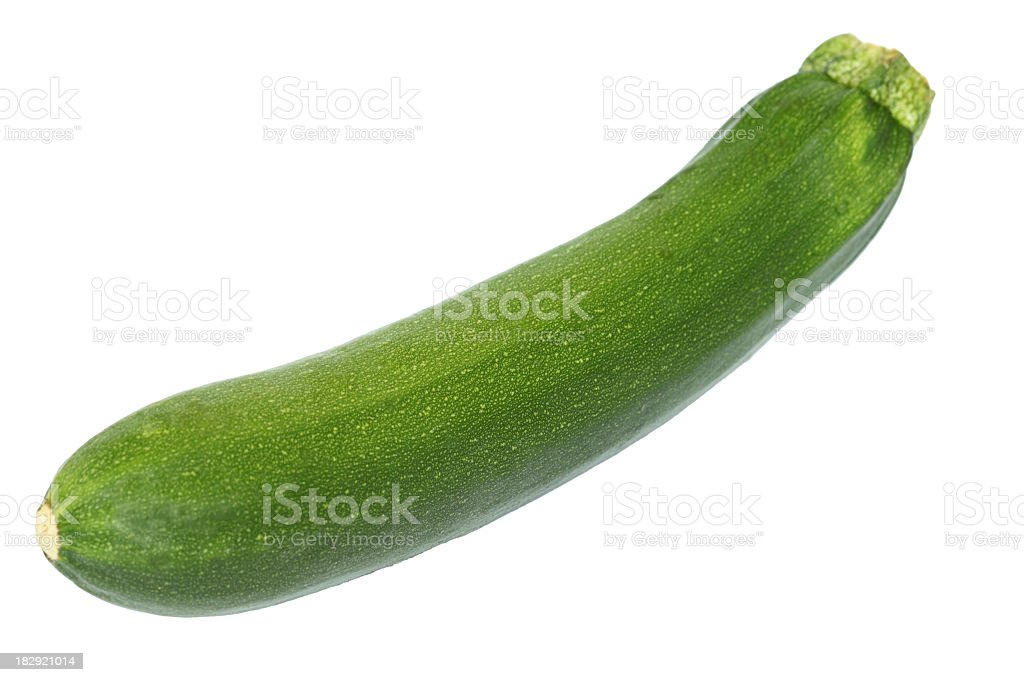 Whole green zucchini on a white background stock photo