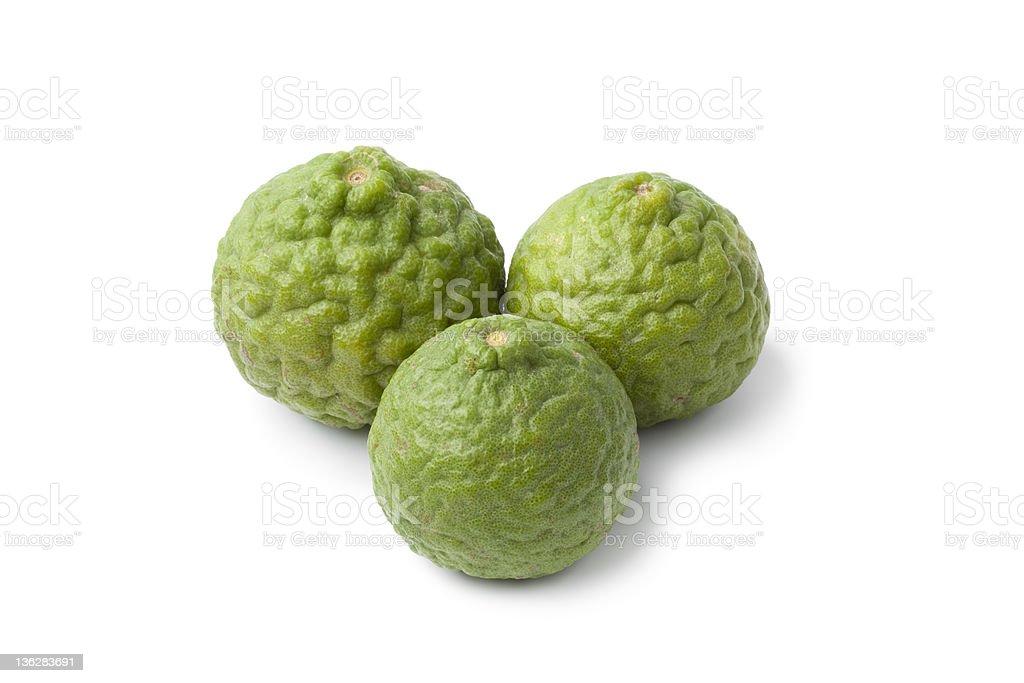 Whole Kaffir limes stock photo