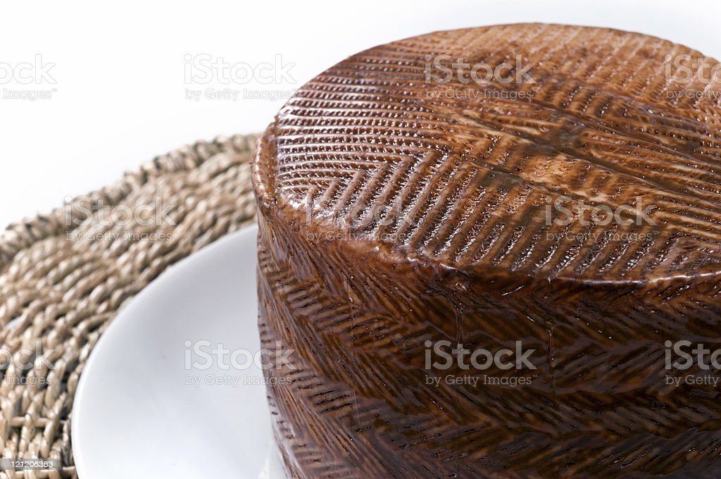 Whole Manchego Cheese Wheel stock photo
