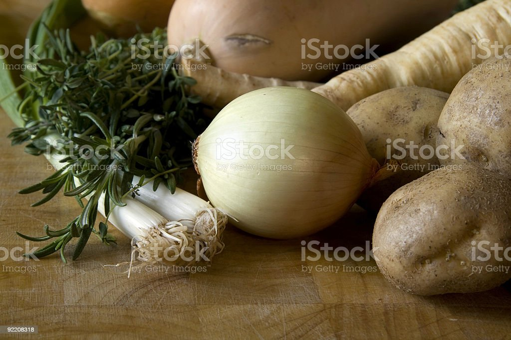 Whole onion and vegetables royalty-free stock photo